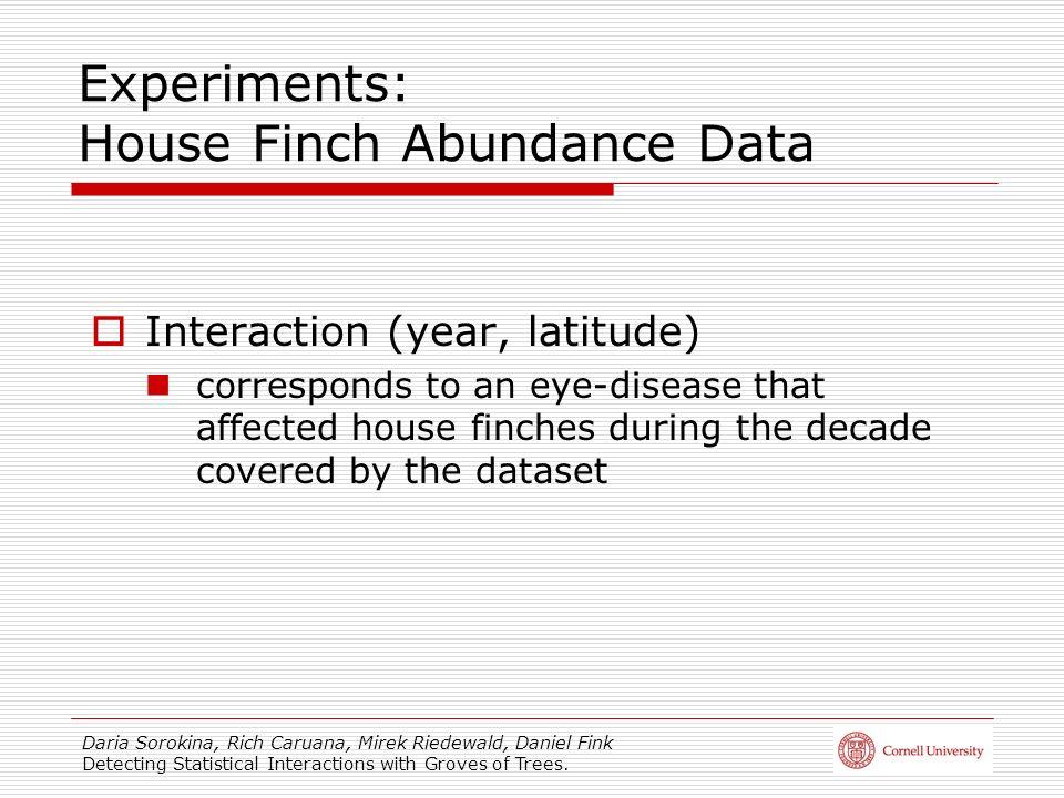 Daria Sorokina, Rich Caruana, Mirek Riedewald, Daniel Fink Detecting Statistical Interactions with Groves of Trees. Experiments: House Finch Abundance