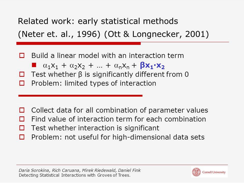 Daria Sorokina, Rich Caruana, Mirek Riedewald, Daniel Fink Detecting Statistical Interactions with Groves of Trees. Related work: early statistical me