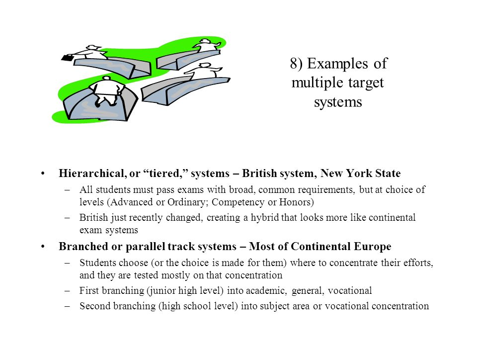 8) Examples of multiple target systems Hierarchical, or tiered, systems – British system, New York State –All students must pass exams with broad, com