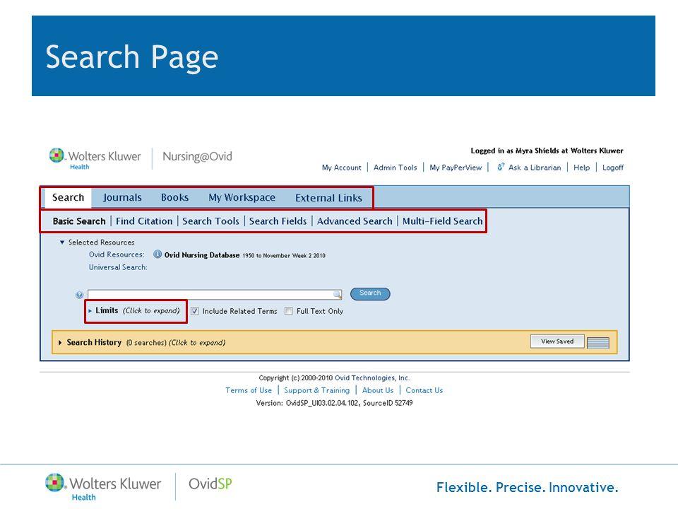 Flexible. Precise. Innovative. Search Page