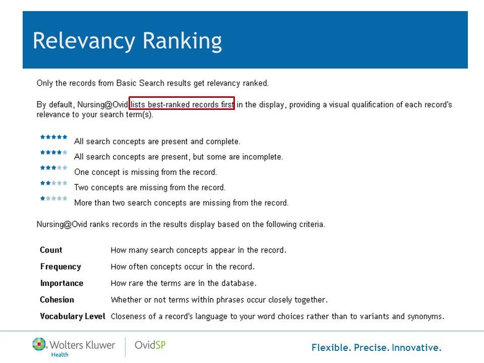 Flexible. Precise. Innovative. Relevancy Ranking