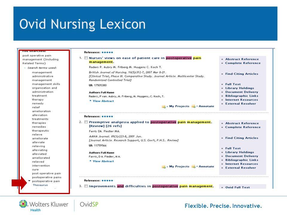 Flexible. Precise. Innovative. Ovid Nursing Lexicon