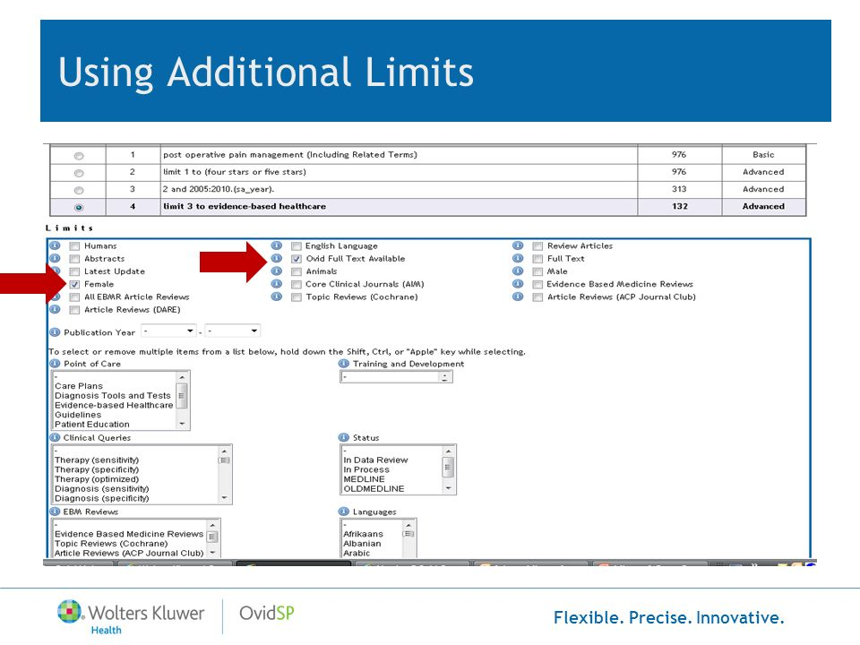 Flexible. Precise. Innovative. Using Additional Limits