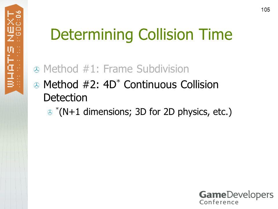 105 Determining Collision Time Method #1: Frame Subdivision Method #2: 4D * Continuous Collision Detection * (N+1 dimensions; 3D for 2D physics, etc.)