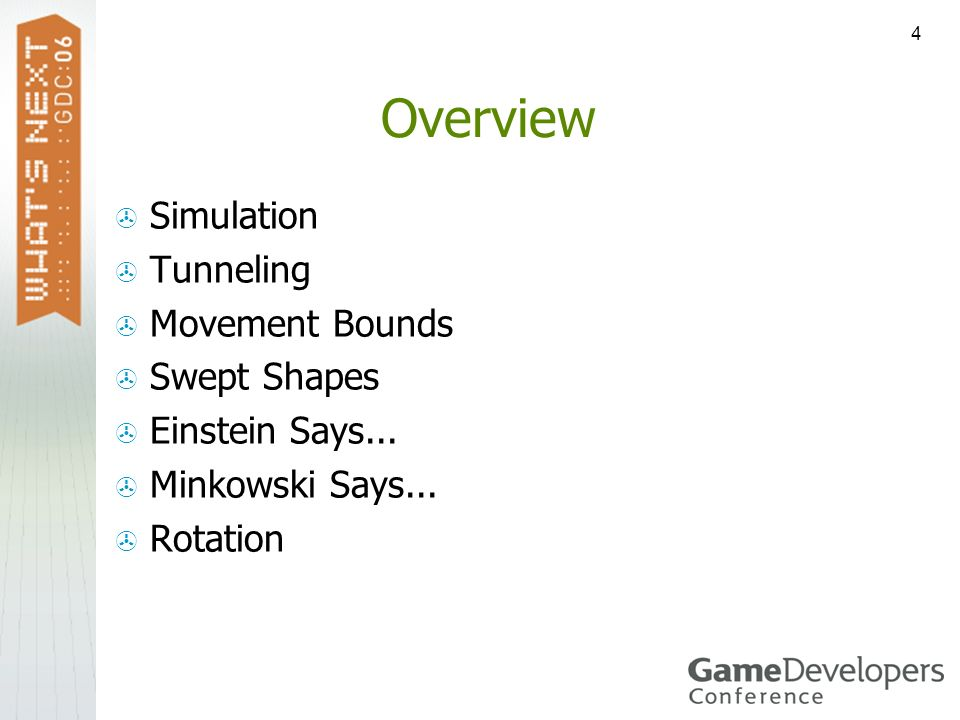 4 Overview Simulation Tunneling Movement Bounds Swept Shapes Einstein Says... Minkowski Says... Rotation