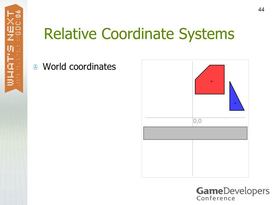44 Relative Coordinate Systems World coordinates