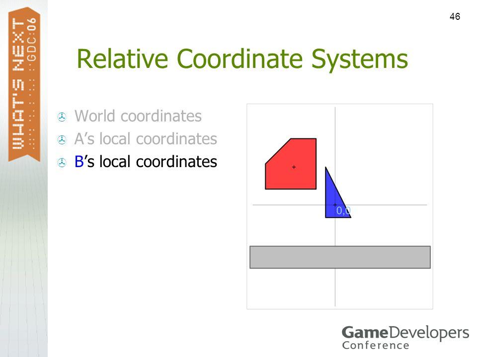46 Relative Coordinate Systems World coordinates As local coordinates Bs local coordinates