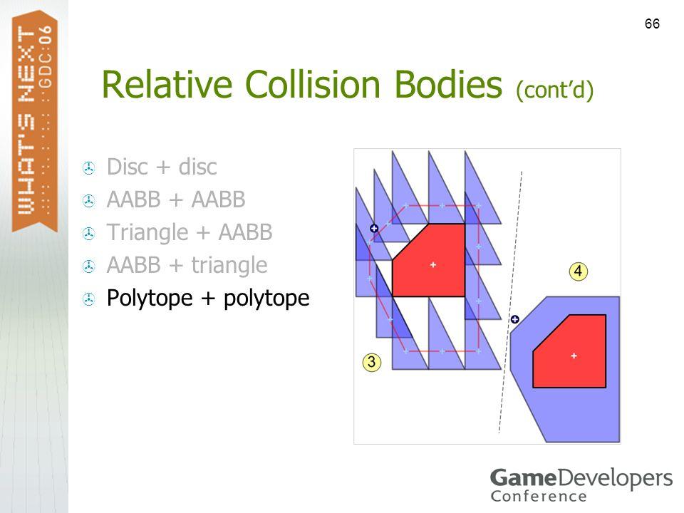66 Relative Collision Bodies (contd) Disc + disc AABB + AABB Triangle + AABB AABB + triangle Polytope + polytope