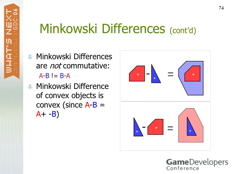 74 Minkowski Differences (contd) Minkowski Differences are not commutative: A-B != B-A Minkowski Difference of convex objects is convex (since A-B = A