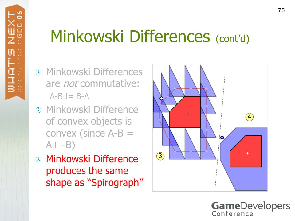 75 Minkowski Differences (contd) Minkowski Differences are not commutative: A-B != B-A Minkowski Difference of convex objects is convex (since A-B = A