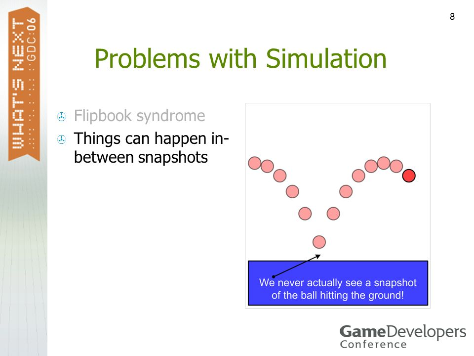 8 Problems with Simulation Flipbook syndrome Things can happen in- between snapshots