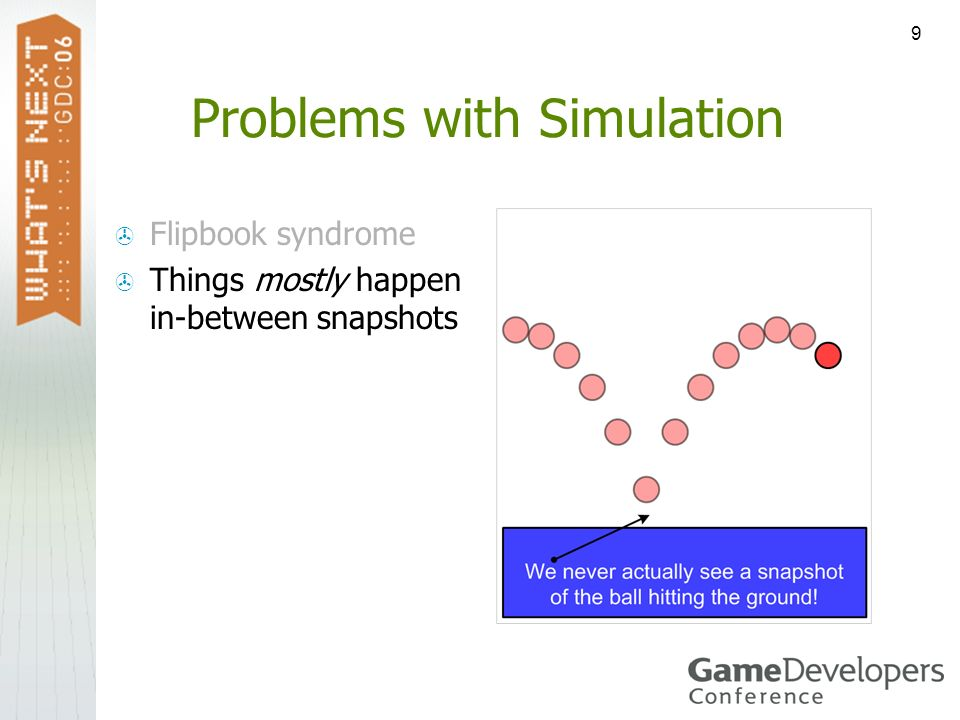 9 Problems with Simulation Flipbook syndrome Things mostly happen in-between snapshots
