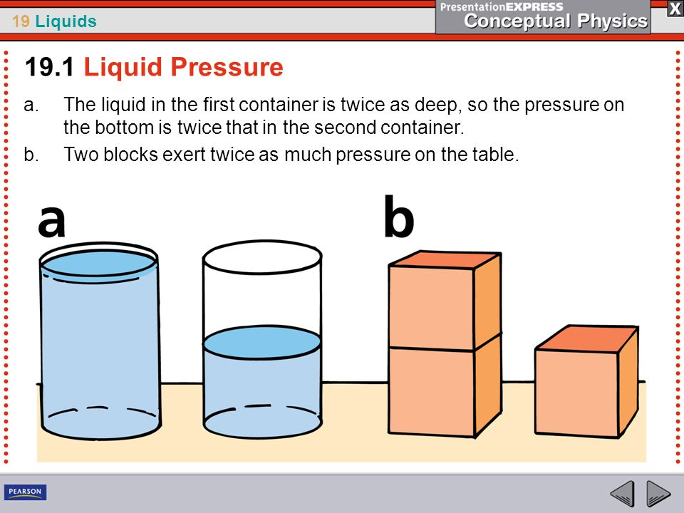 19 Liquids a.The liquid in the first container is twice as deep, so the pressure on the bottom is twice that in the second container. b.Two blocks exe