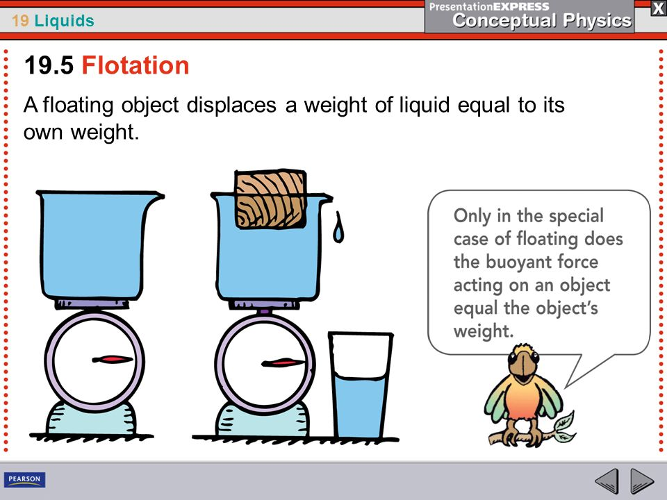 19 Liquids A floating object displaces a weight of liquid equal to its own weight. 19.5 Flotation