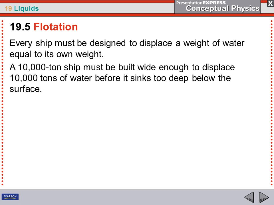 19 Liquids Every ship must be designed to displace a weight of water equal to its own weight. A 10,000-ton ship must be built wide enough to displace