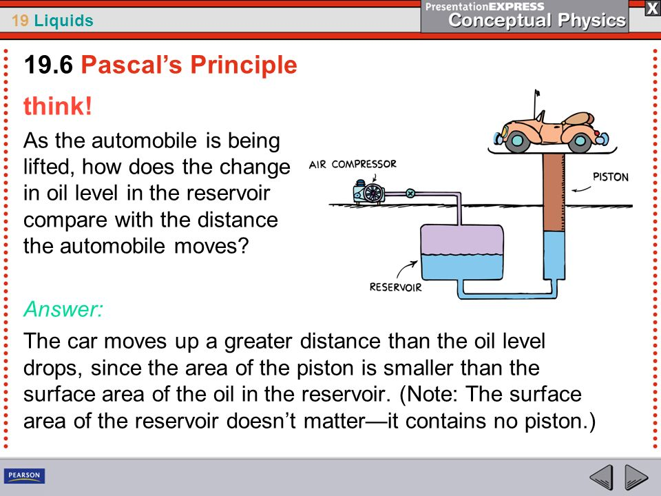 19 Liquids think! As the automobile is being lifted, how does the change in oil level in the reservoir compare with the distance the automobile moves?