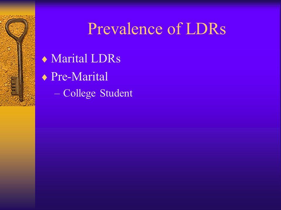 Prevalence of LDRs Marital LDRs Pre-Marital –College Student