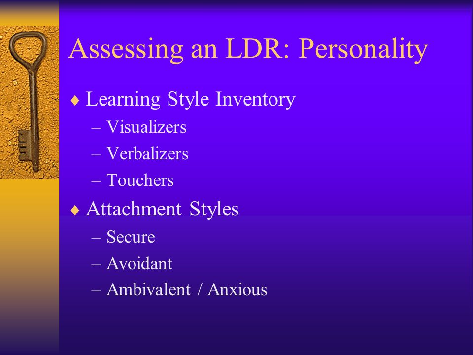 Assessing an LDR: Personality Learning Style Inventory –Visualizers –Verbalizers –Touchers Attachment Styles –Secure –Avoidant –Ambivalent / Anxious