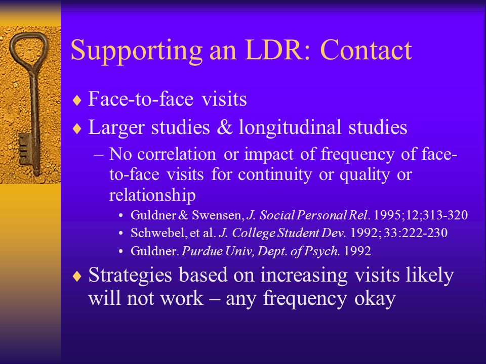 Supporting an LDR: Contact Face-to-face visits Larger studies & longitudinal studies –No correlation or impact of frequency of face- to-face visits fo