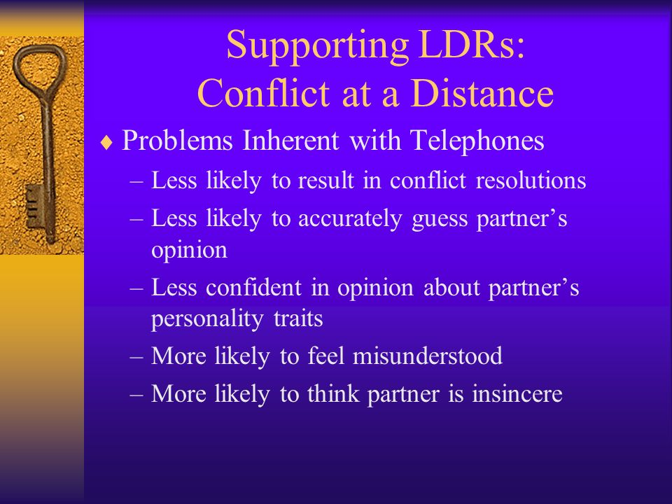 Supporting LDRs: Conflict at a Distance Problems Inherent with Telephones –Less likely to result in conflict resolutions –Less likely to accurately gu