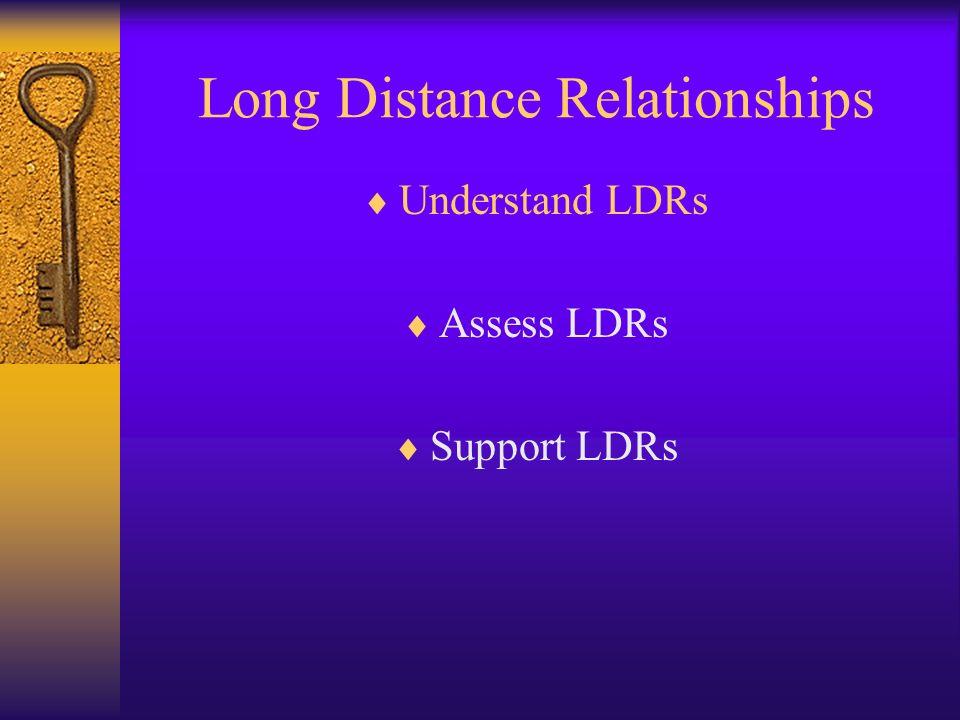 Long Distance Relationships Understand LDRs Assess LDRs Support LDRs
