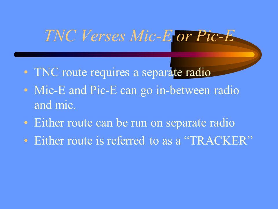 TNC Verses Mic-E or Pic-E TNC route requires a separate radio Mic-E and Pic-E can go in-between radio and mic. Either route can be run on separate rad