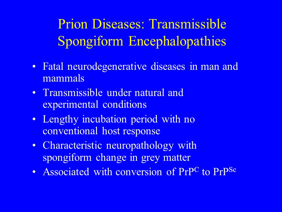 Prion Diseases: Transmissible Spongiform Encephalopathies Fatal neurodegenerative diseases in man and mammals Transmissible under natural and experime