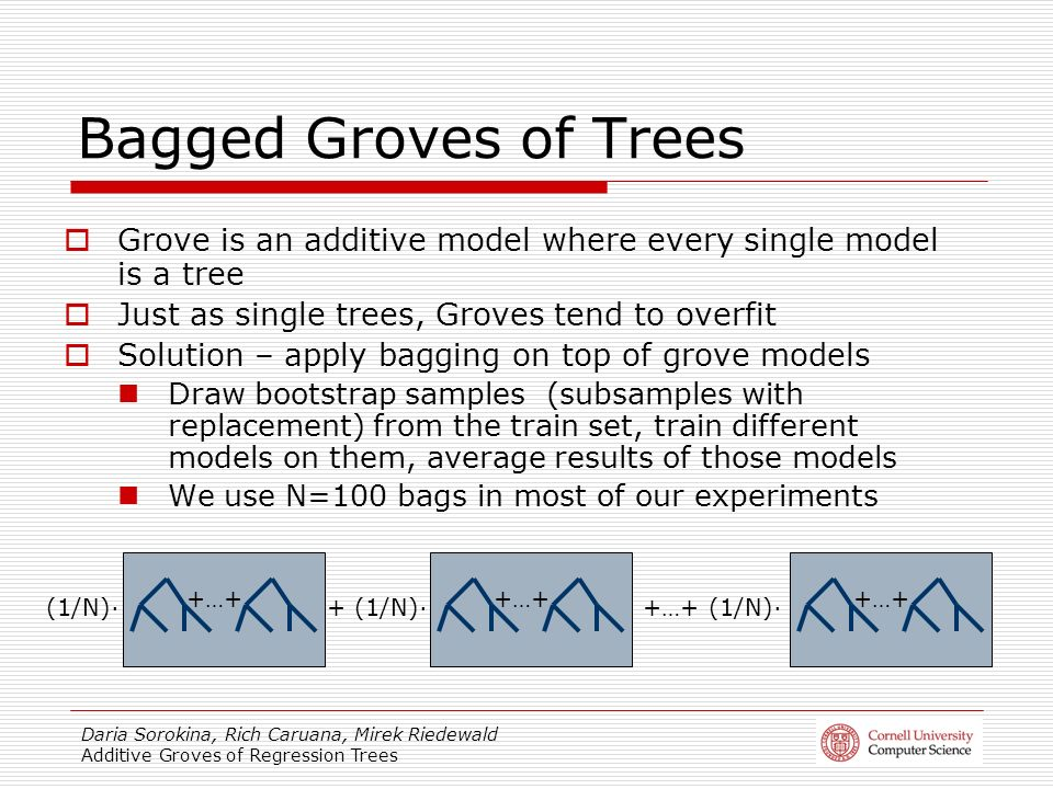 Daria Sorokina, Rich Caruana, Mirek Riedewald Additive Groves of Regression Trees Bagged Groves of Trees Grove is an additive model where every single