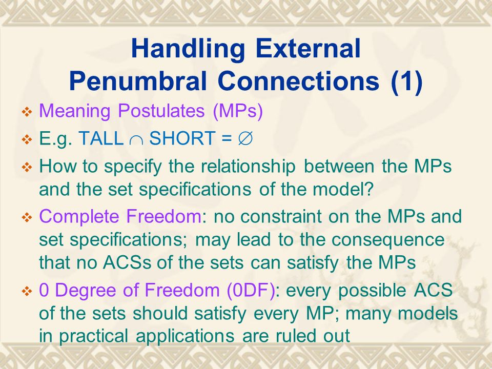 Handling External Penumbral Connections (1) Meaning Postulates (MPs) E.g. TALL SHORT = How to specify the relationship between the MPs and the set spe