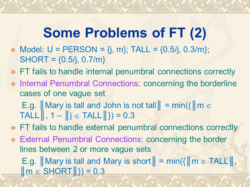 Some Problems of FT (2) Model: U = PERSON = {j, m}; TALL = {0.5/j, 0.3/m}; SHORT = {0.5/j, 0.7/m} FT fails to handle internal penumbral connections co