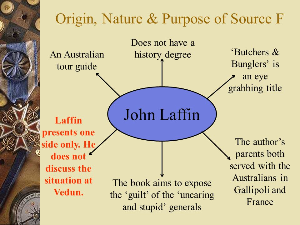 Origin, Nature & Purpose of Source F John Laffin An Australian tour guide Does not have a history degree Butchers & Bunglers is an eye grabbing title