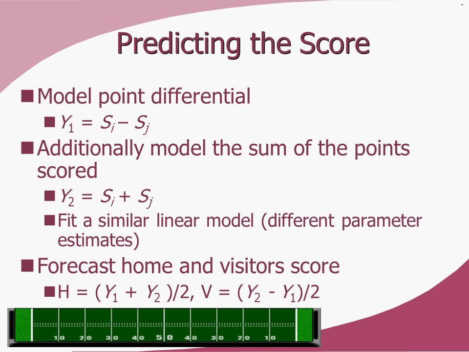 Predicting the Score Model point differential Y 1 = S i – S j Additionally model the sum of the points scored Y 2 = S i + S j Fit a similar linear mod