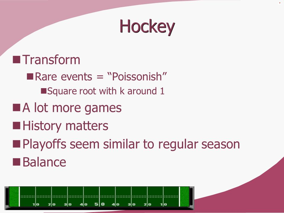 Hockey Transform Rare events = Poissonish Square root with k around 1 A lot more games History matters Playoffs seem similar to regular season Balance