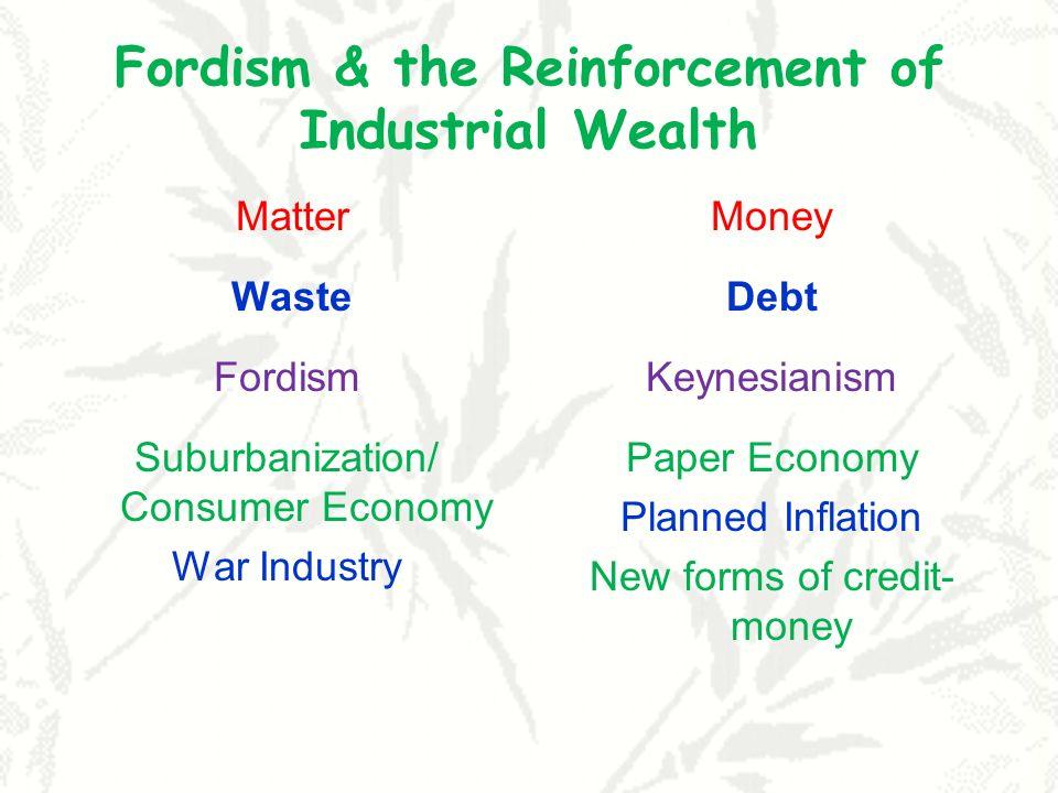 Fordism & the Reinforcement of Industrial Wealth Matter Waste Fordism Suburbanization/ Consumer Economy War Industry Money Debt Keynesianism Paper Eco