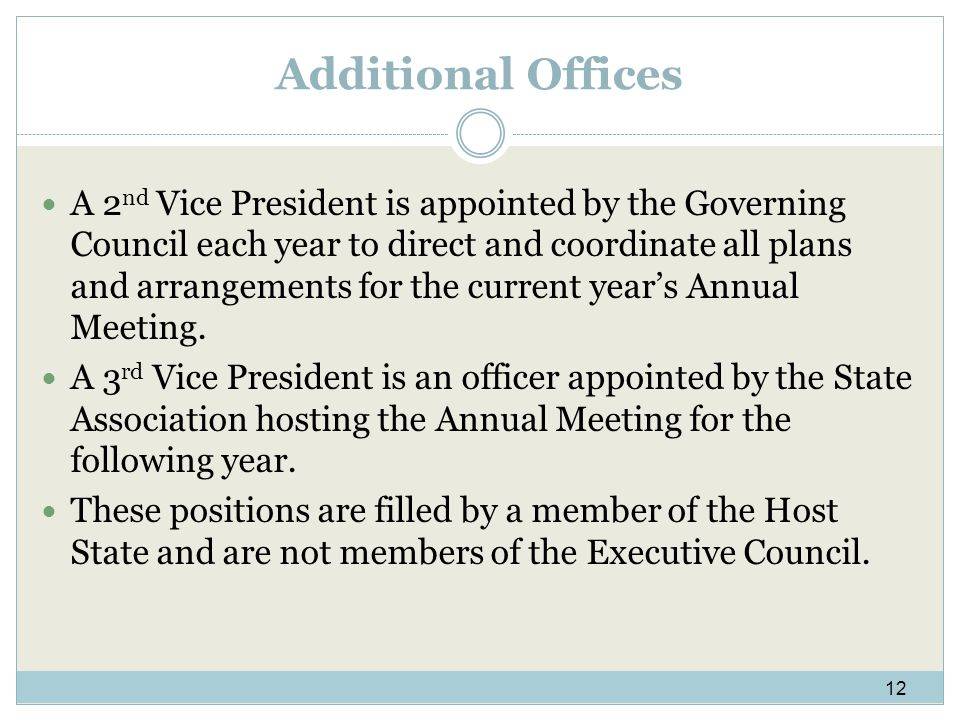 Additional Offices A 2 nd Vice President is appointed by the Governing Council each year to direct and coordinate all plans and arrangements for the current years Annual Meeting.