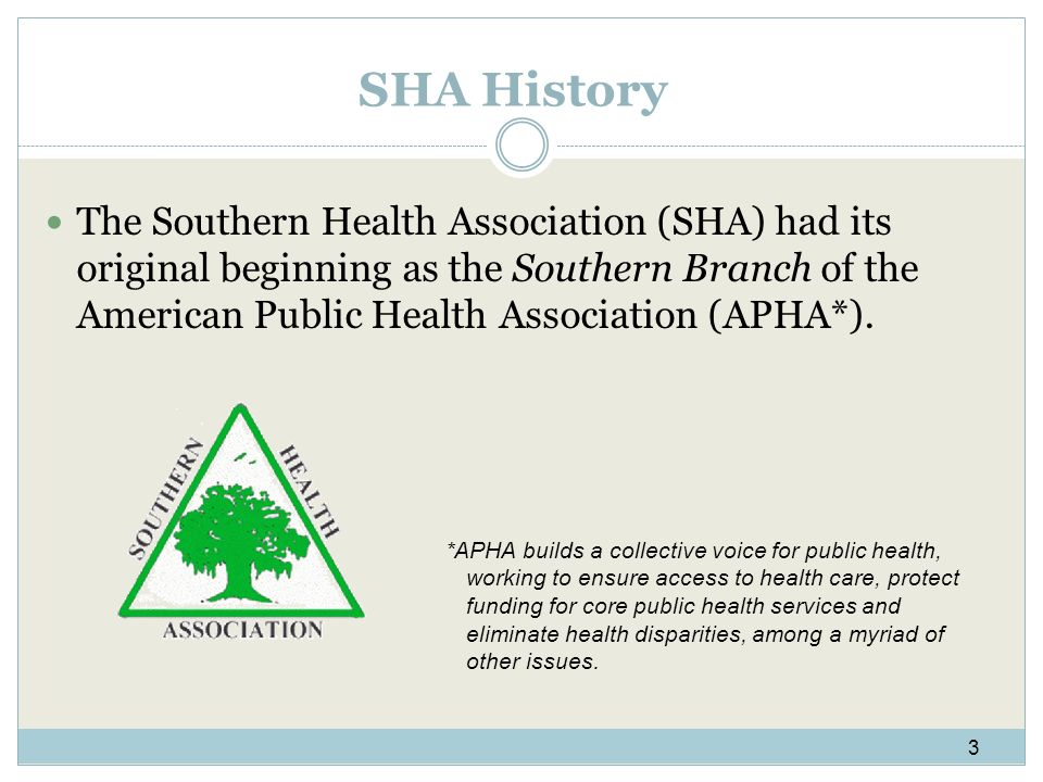 SHA History The Southern Health Association (SHA) had its original beginning as the Southern Branch of the American Public Health Association (APHA*).