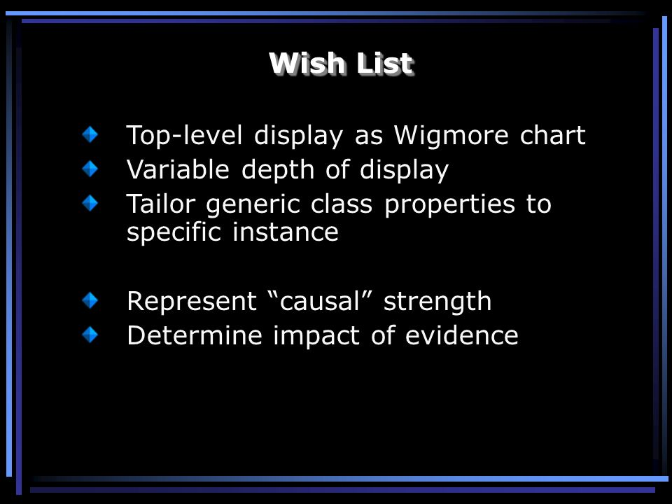 Top-level display as Wigmore chart Variable depth of display Tailor generic class properties to specific instance Represent causal strength Determine