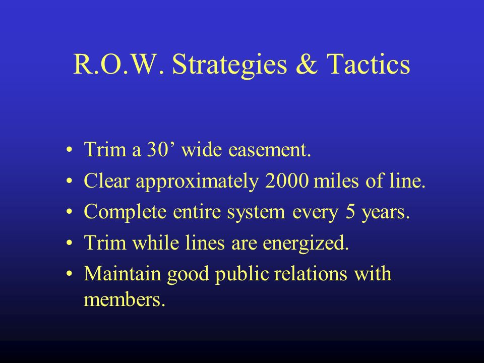 R.O.W. Strategies & Tactics Trim a 30 wide easement.