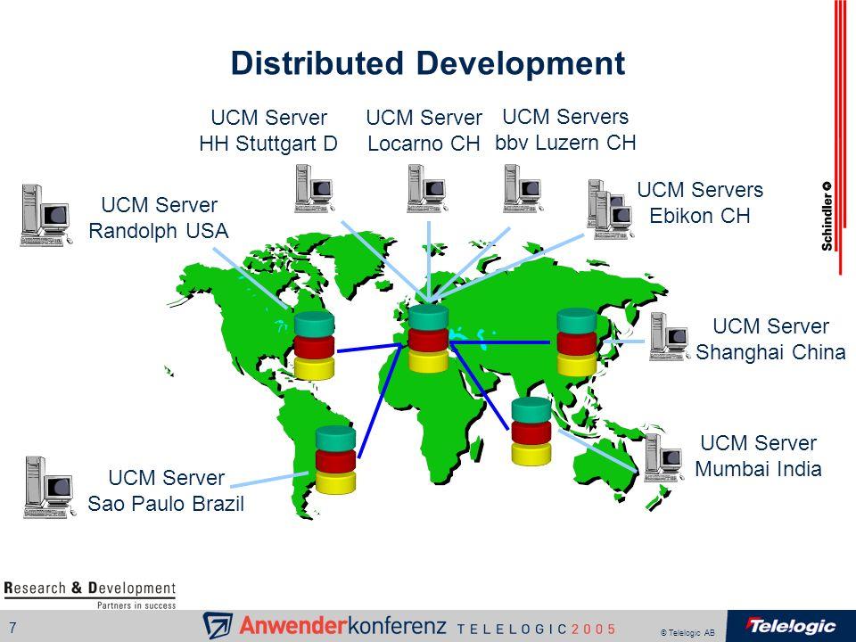 © Telelogic AB 7 Distributed Development UCM Server Randolph USA UCM Servers Ebikon CH UCM Server Locarno CH UCM Server HH Stuttgart D UCM Server Mumb