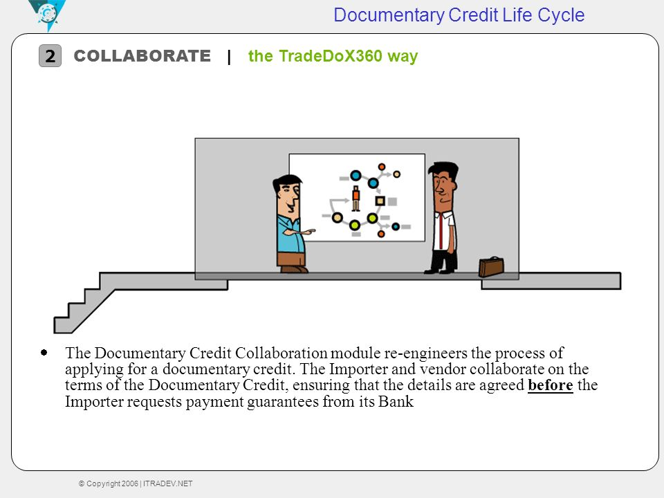 © Copyright 2006 | ITRADEV.NET Documentary Credit Life Cycle The Documentary Credit Collaboration module re-engineers the process of applying for a do
