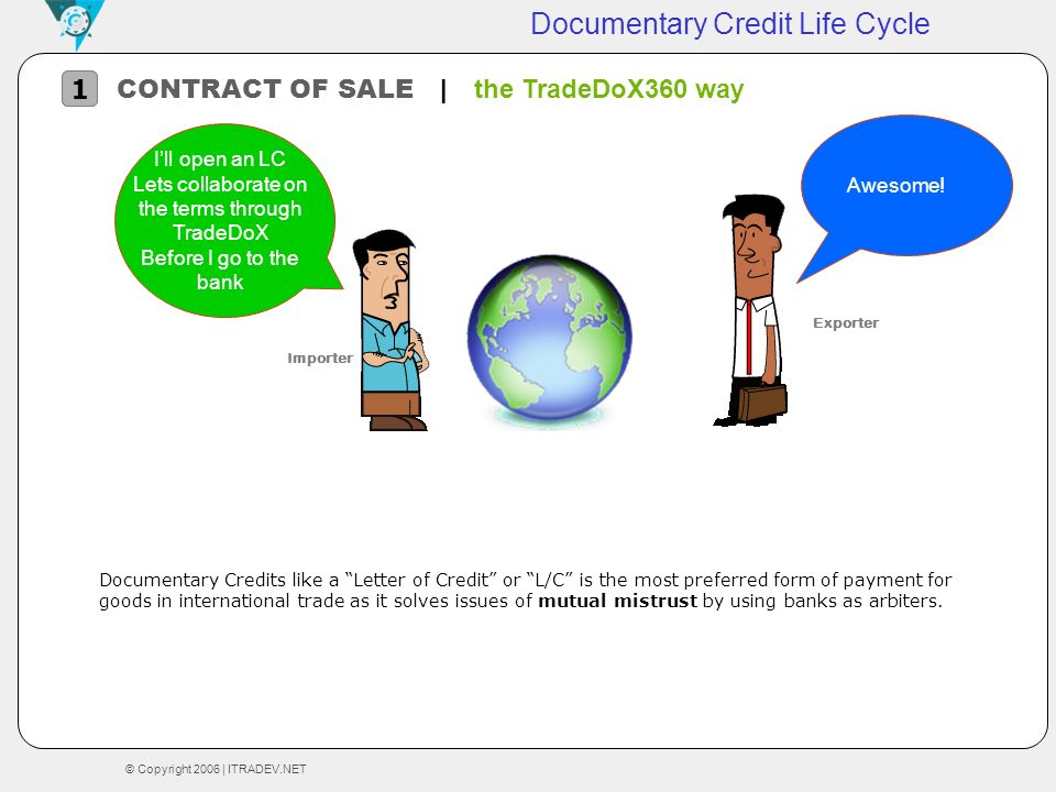 © Copyright 2006 | ITRADEV.NET Documentary Credit Life Cycle CONTRACT OF SALE | the TradeDoX360 way 1 Awesome! Documentary Credits like a Letter of Cr