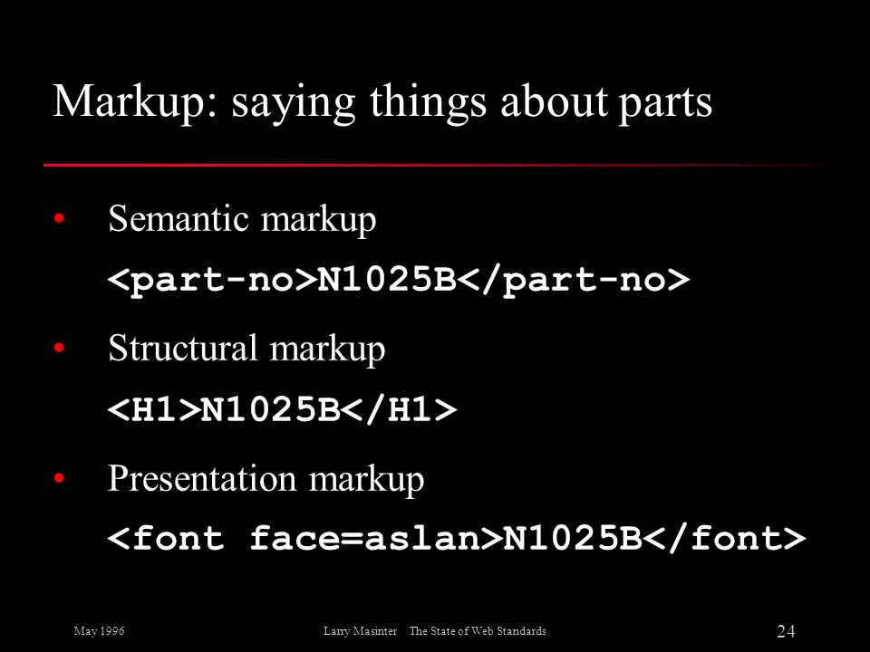 May 1996 24 Larry Masinter The State of Web Standards Markup: saying things about parts Semantic markup N1025B Structural markup N1025B Presentation m