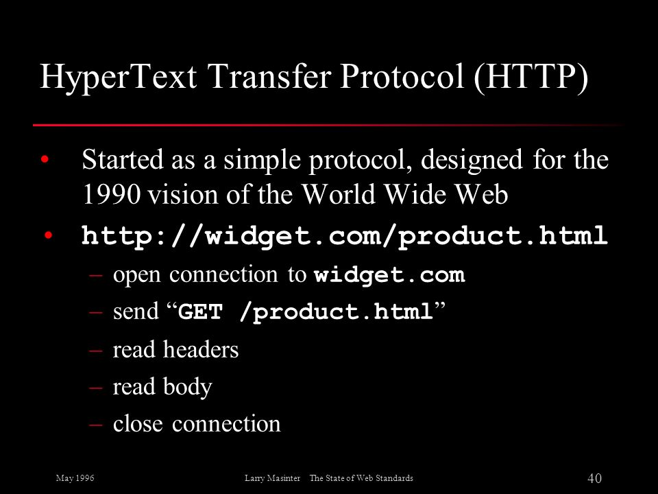 May 1996 40 Larry Masinter The State of Web Standards HyperText Transfer Protocol (HTTP) Started as a simple protocol, designed for the 1990 vision of
