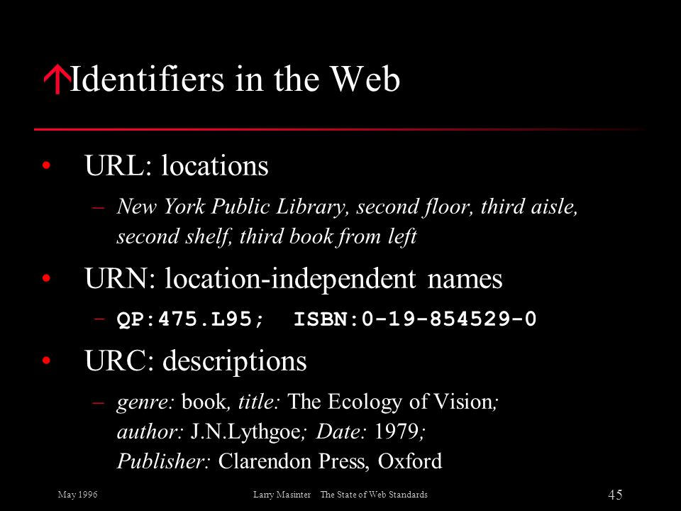 May 1996 45 Larry Masinter The State of Web Standards á Identifiers in the Web URL: locations –New York Public Library, second floor, third aisle, sec