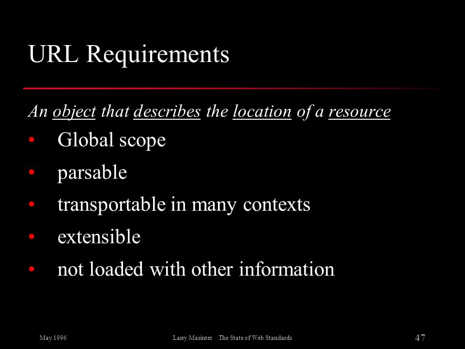 May 1996 47 Larry Masinter The State of Web Standards URL Requirements An object that describes the location of a resource Global scope parsable trans