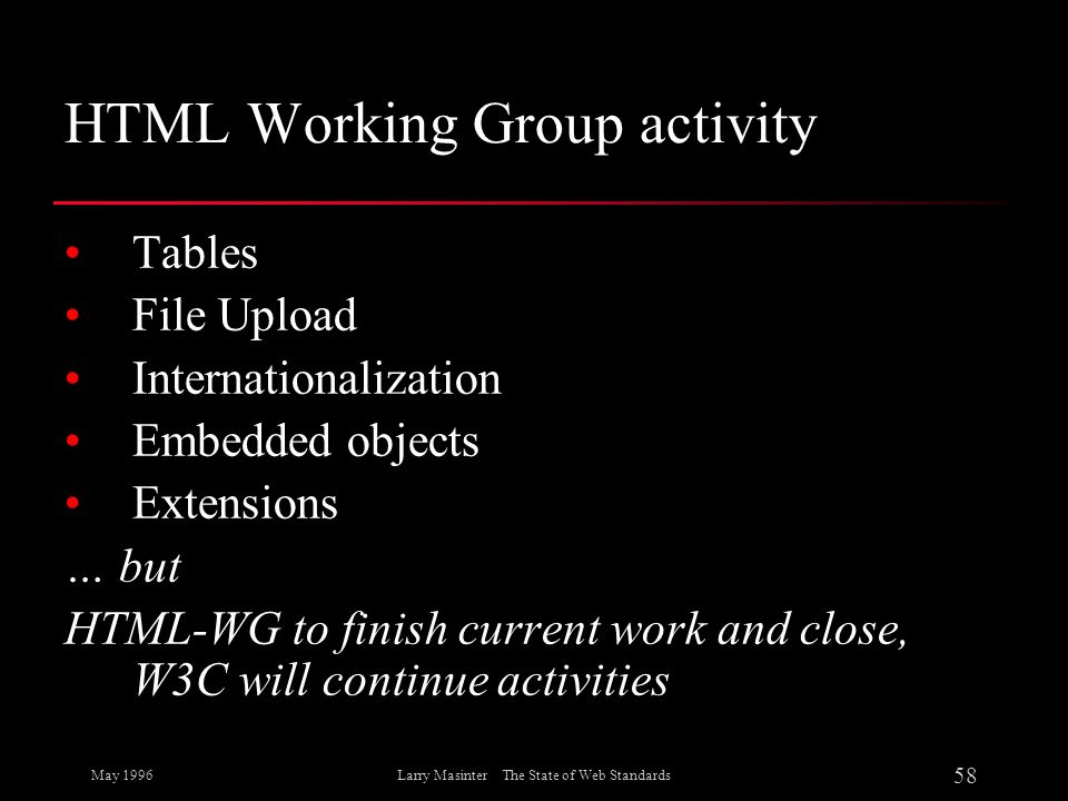May 1996 58 Larry Masinter The State of Web Standards HTML Working Group activity Tables File Upload Internationalization Embedded objects Extensions