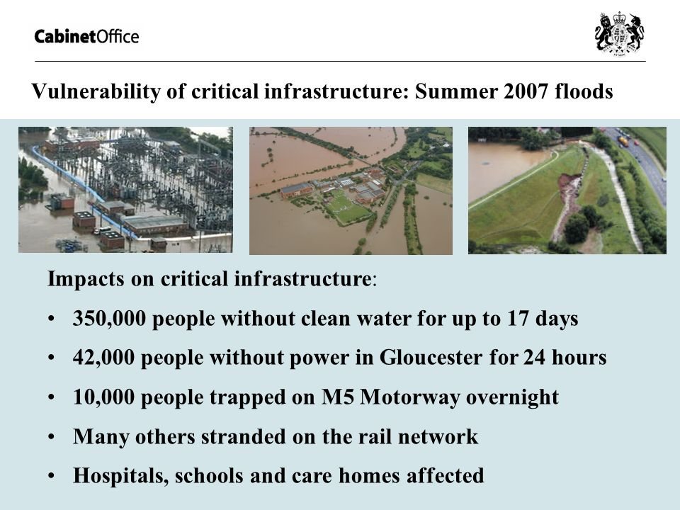 Vulnerability of critical infrastructure: Summer 2007 floods Impacts on critical infrastructure: 350,000 people without clean water for up to 17 days