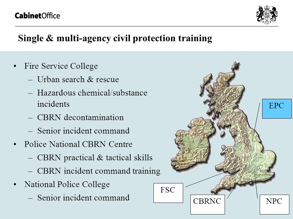 Single & multi-agency civil protection training Fire Service College –Urban search & rescue –Hazardous chemical/substance incidents –CBRN decontaminat