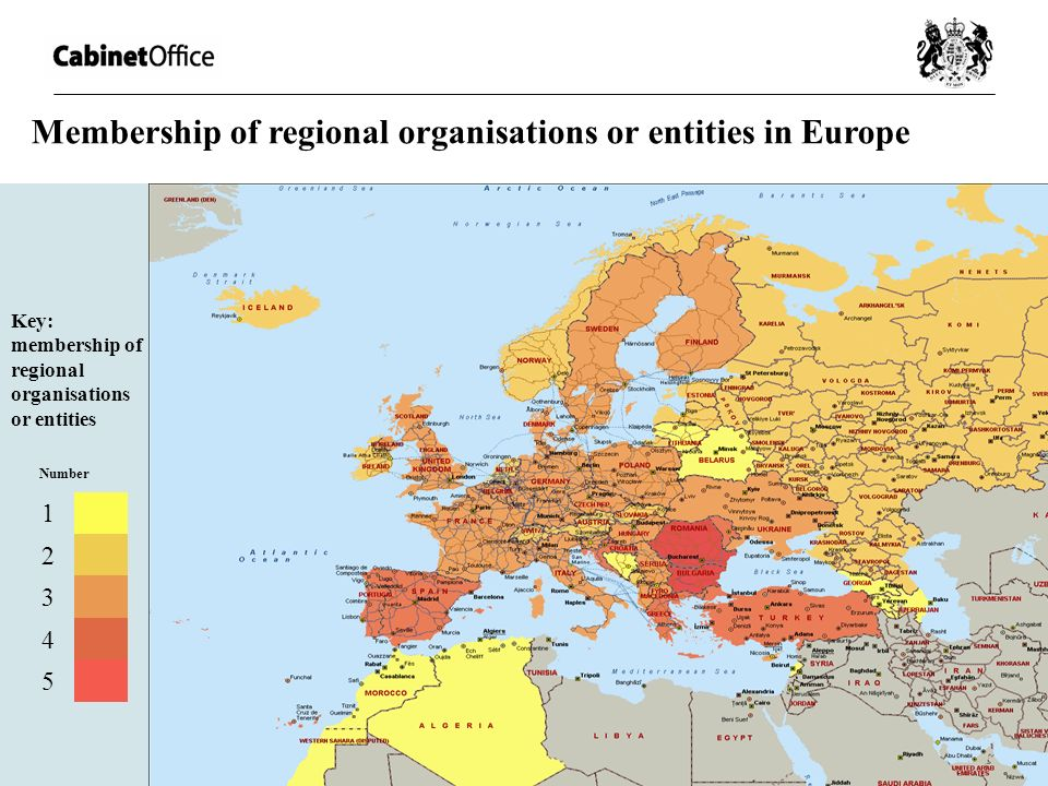 Membership of regional organisations or entities in Europe Key: membership of regional organisations or entities Number 1 2 3 4 5