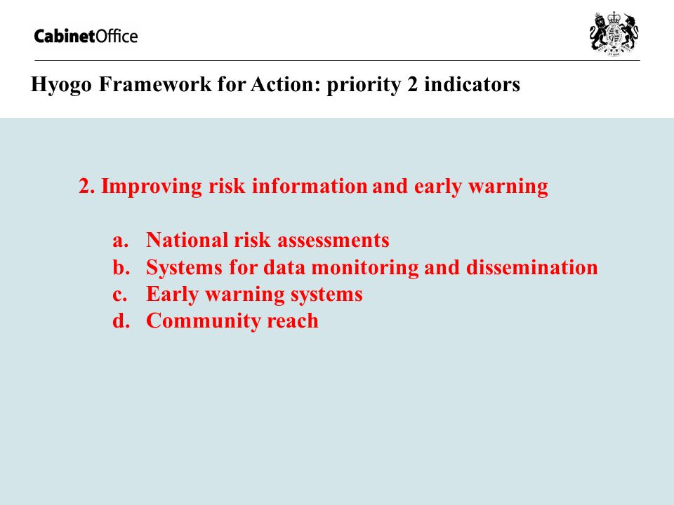 2. Improving risk information and early warning a.National risk assessments b.Systems for data monitoring and dissemination c.Early warning systems d.